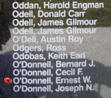 Memorial – Pilot Officer Ernest William O'Donnell is also commemorated on the Bomber Command Memorial Wall in Nanton, AB … photo courtesy of Marg Liessens