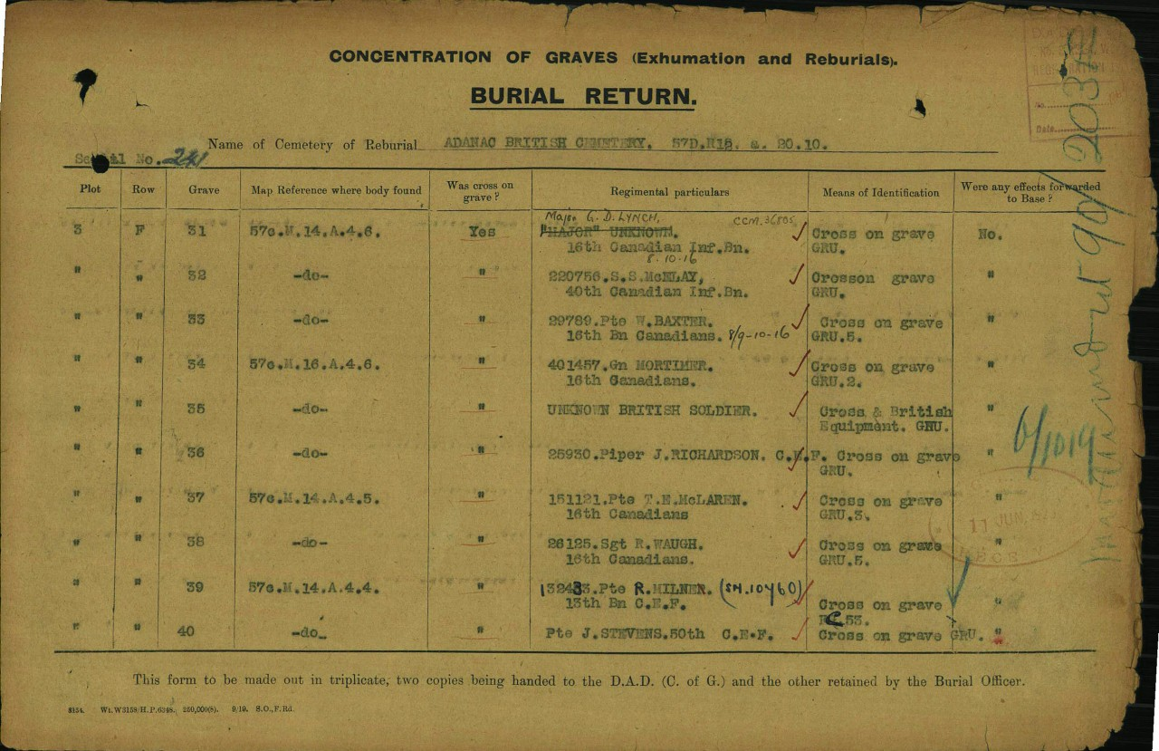 """Burial Report – The CWGC """"Concentration of Graves (Exhumation and Reburials) - Burial Return"""" shows that Piper James Richardson, V.C. was exhumed from a battlefield grave north of the Le Sars and reburied in Adanac Military Cemetery in Plot 3 Row F Grave 36. The exhumation was recorded on June 11, 1920."""
