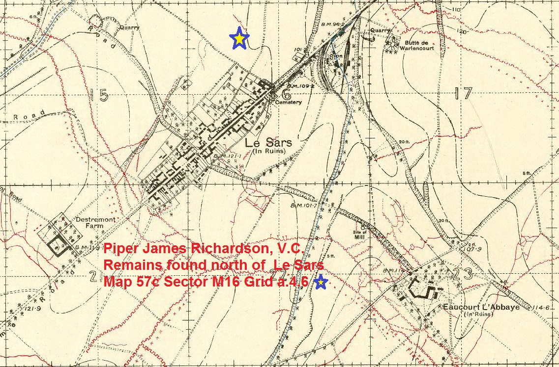 """Map – The precise location where Private Richardson's remains were found are marked on this 1916 Trench Map from October 7, 1916 """"57cSW1 Geudecourt Edition 2A OS 1916"""". The blue star with the yellow fill marks the location of Map 57c Sector M16 Grid a.4.5 where he was exhumed in June of 1920. Each large square (i.e. M16) is 1,000 yards by 1,000 yards and each small square (i.e. M16 a) is 500 yards by 500 yards. Each small square has 10 x 10 grids, each therefore representing 50 yards."""