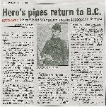 Newspaper Clipping – Hero's pipes return to B.C. Taken from The Province Newspaper.