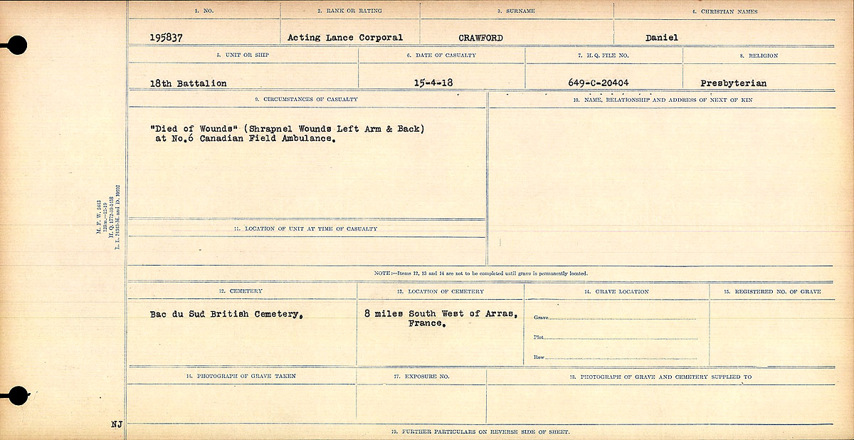 """Circumstances of Death Registers – """"Died of Wounds"""" (Shrapnel Wounds Left Arm and Back) at No. 6 Canadian Field Ambulance.  Contributed by E.Edwards www.18thbattalioncef.wordpress.com"""