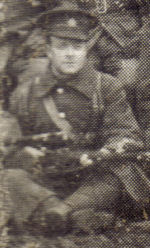 Photo of Peter Nelson – Peter Nelson, taken from 1st Battalion, H Company Christmas card 1914