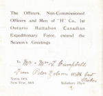 Christmas Card – 1st Battalion Christmas card  to Tom and Mary Campbell, Vine Street, Preston, Ont