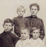 Family photo – Wife Valentina Burton and children left to right, Charles 7 years, in mother's arms, Samuel 3 years, Lawrence 5 years, and twin Sidney Jr. 5 years.  The twins turned five years on October 29th 1916.