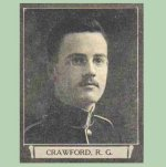 """Photo of Richard Gilpin Crawford – From """"The War Book of Upper Canada College"""", edited by Archibald Hope Young, Toronto, 1923.  This book is a Roll of Honour including former students who served during the First World War.  (Please note - this soldier's biography states that he was Mentioned in Despatches)."""