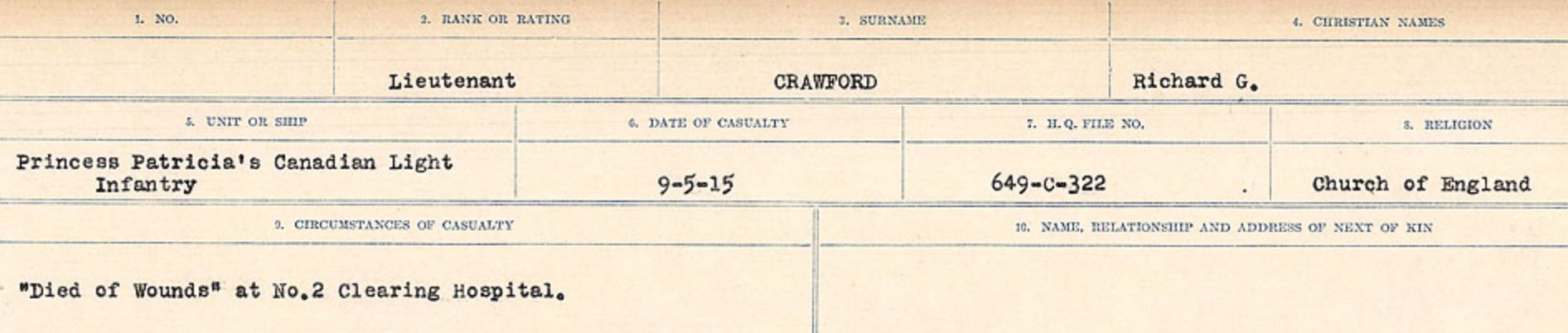 Circumstances of death registers – Source: Library and Archives Canada. CIRCUMSTANCES OF DEATH REGISTERS, FIRST WORLD WAR Surnames: CRABB TO CROSSLAND Microform Sequence 24; Volume Number 31829_B016733. Reference RG150, 1992-93/314, 168. Page 377 of 788.