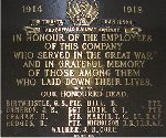 War Memorial – The Toronto Hamilton & Buffalo Railway Company War Memorial Plaque is  located in the former TH&B Building, Hunter Street, Hamilton, Ontario.    This company was in business from 1892 to 1987 with headquarters in  Hamilton.