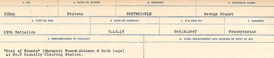 Circumstances of Death Registers – Source: Library and Archives Canada.  CIRCUMSTANCES OF DEATH REGISTERS FIRST WORLD WAR Surnames: Birch to Blakstad. Mircoform Sequence 10; Volume Number 31829_B034746; Reference RG150, 1992-93/314, 154 Page 161 of 734