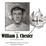 Memorial Page – William Chester is honoured on page 26 of the Gananoque Remembers booklet, published on January 31, 2005.