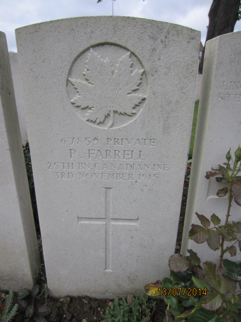 Grave Marker – Grave marker for Philip Farrell in Bailleul Communal Cemetery, Nord, France. Image taken 13 July 2014 by Tom Tulloch.