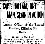 Newspaper Clipping – From the Toronto Star for 1 October 1915.