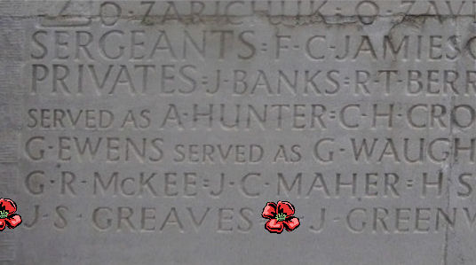 Memorial – Inscription - Vimy Memorial … photo courtesy of Marg Liessens