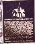 Memorial Plaque – Memorial plaque located in Bru Cemetery, honouring the Icelandic heritage of Christine Frederickson and her ancestors. Photo courtesy of Craig B.Cameron, September 2005.