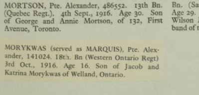 Biography – (Served as MARQUIS). Son of Jacob and Katrina Morykwas of Welland, Ontario.