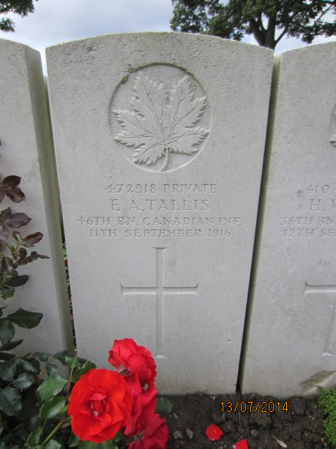 Grave Marker – Grave marker at Bailleul Communal Cemetery, France for Private Edgar Alfred Tallis. Image taken by Tom Tulloch 13 July 2014.
