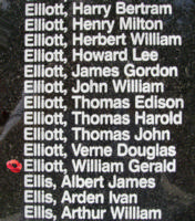 Memorial – Flying Officer William Gerald Elliott is also commemorated on the Bomber Command Memorial Wall in Nanton, AB … photo courtesy of Marg Liessens