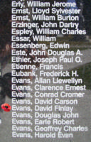 Memorial – Warrant Officer Class II David Finlay Evans is also commemorated on the Bomber Command Memorial Wall in Nanton, AB … photo courtesy of Marg Liessens