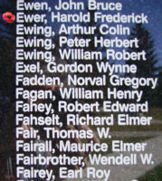 Memorial – Flight Lieutenant Harold Frederick Ewer is also commemorated on the Bomber Command Memorial Wall in Nanton, AB … photo courtesy of Marg Liessens