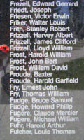 Memorial – Flying Officer Lloyd William Frizzell is also commemorated on the Bomber Command Memorial Wall in Nanton, AB … photo courtesy of Marg Liessens