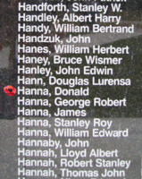 Memorial – Pilot Officer Donald Hanna is also commemorated on the Bomber Command Memorial Wall in Nanton, AB … photo courtesy of Marg Liessens