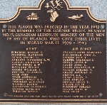 Plaque – A closer view of a plaque on the monument in Bonavista where Arthur Douglas Rowsell is commemorated.