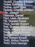 Memorial – Flying Officer Joseph Tite is commemorated on the Bomber Command Memorial Wall in Nanton, AB … photo courtesy of Marg Liessens
