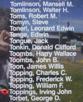 Memorial – Flying Officer Irving John Toppings is also commemorated on the Bomber Command Memorial Wall in Nanton, AB … photo courtesy of Marg Liessens