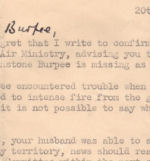 Letter – Wing Commander Guy Penrose Gibson VC DSO (bar) DFC (bar) - his letter written to Mrs. Lewis Burpee (Lillian) three days after the Dambuster Raid explaining that her husband P/O L.J. Burpee had crashed.
