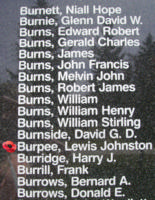 Memorial – Pilot Officer Lewis Johnstone Burpee is also commemorated on the Bomber Command Memorial Wall in Nanton, AB … photo courtesy of Marg Liessens