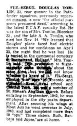 Newspaper clipping – Obituary from The Toronto Star January 19, 1945, page 9
