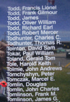 Memorial – Pilot Officer Douglas Tomlin is commemorated on the Bomber Command Memorial Wall in Nanton, AB … photo courtesy of Marg Liessens