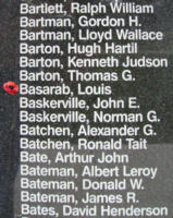 Memorial – Pilot Officer Louis Basarab is also commemorated on the Bomber Command Memorial Wall in Nanton, AB … photo courtesy of Marg Liessens
