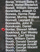 Memorial – Flying Officer Stewart Millen Bonter is also commemorated on the Bomber Command Memorial Wall in Nanton, AB … photo courtesy of Marg Liessens