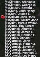 Memorial – Flying Officer Jack Ross McCollum is also commemorated on the Bomber Command Memorial Wall in Nanton, AB … photo courtesy of Marg Liessens