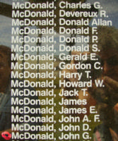 Memorial – Flying Officer John Gordon McDonald is also commemorated on the Bomber Command Memorial Wall in Nanton, AB … photo courtesy of Marg Liessens