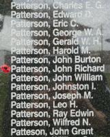 Memorial – Pilot Officer John Richard Patterson is also commemorated on the Bomber Command Memorial Wall in Nanton, AB … photo courtesy of Marg Liessens
