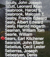Memorial – Flying Officer Earl Kitchener Sears is commemorated on the Bomber Command Memorial Wall in Nanton, AB … photo courtesy of Marg Liessens