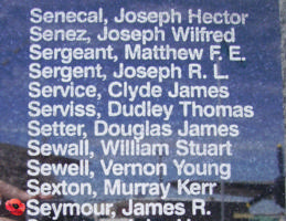 Memorial – Pilot Officer James Rodgers Seymour is commemorated on the Bomber Command Memorial Wall in Nanton, AB … photo courtesy of Marg Liessens