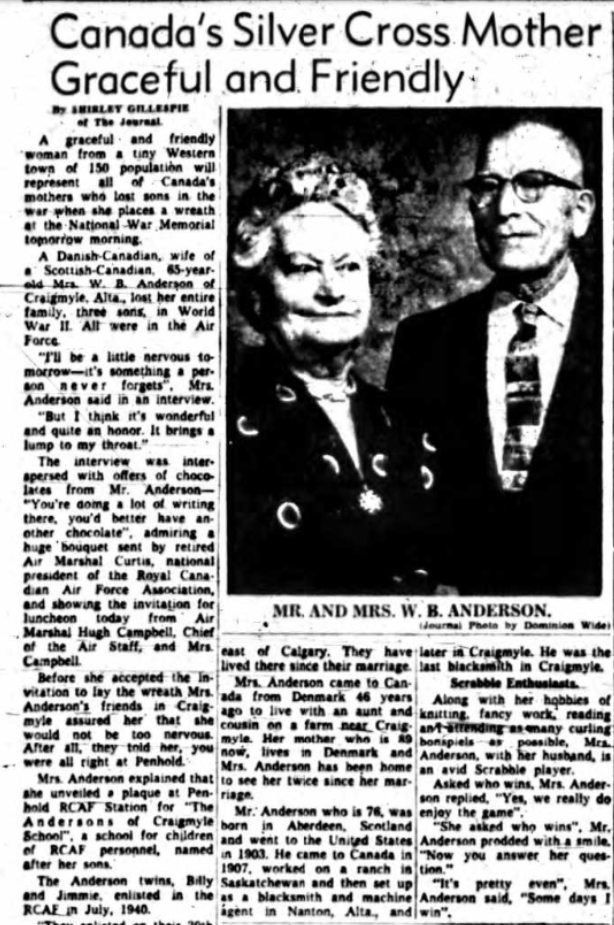 Newspaper Clipping – Mrs Dagnie Asta Anderson Silver Cross Mother 1959. Submitted for the project, Operation Picture Me