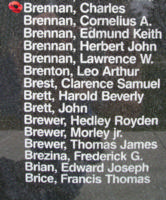 Memorial – Sergeant Observer/Air Bomber Charles Brennan is also commemorated on the Bomber Command Memorial Wall in Nanton, AB … photo courtesy of Marg Liessens