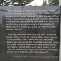 Memorial – Father J P Lardie's comments as inscribed on the Bomber Command Memorial Wall in Nanton, AB … photo courtesy of Marg Liessens