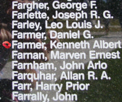 Memorial – Sergeant Kenneth Albert Farmer is also commemorated on the Bomber Command Memorial Wall in Nanton, AB … photo courtesy of Marg Liessens