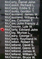 Memorial – Pilot Officer Edward John McClarty is also commemorated on the Bomber Command Memorial Wall in Nanton, AB … photo courtesy of Marg Liessens