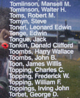 Memorial – Pilot Officer Donald Clifford Tonkin is also commemorated on the Bomber Command Memorial Wall in Nanton, AB … photo courtesy of Marg Liessens