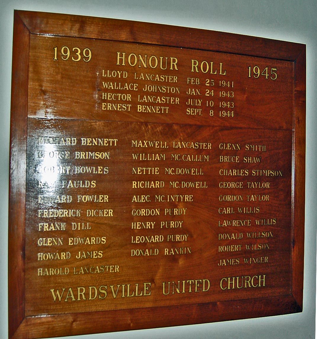 Memorial – Hector's name appears along with his brother's name on the Honour Roll in Wardsville United Church.