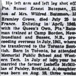 Newspaper Clipping 2 – This obituary of Pte Bateman was clipped from a Toronto newspaper in 1944.