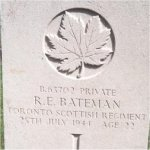 Grave Marker – This photo of Pte Bateman's gravemarker was taken by Padre Craig Cameron of The QOR of C on June 6th, 2003.