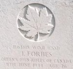 Gravemarker – Captain Craig Cameron took this photo of CSM Forbes' gravemarker in England in 1997.
