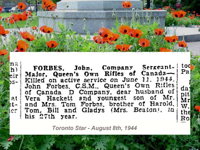 Newspaper Clipping – Deaths on Active Service - newspaper column.