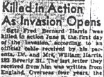 Obituary – This obituary of Sergeant Harris was published in a Toronto paper in June of 1944.